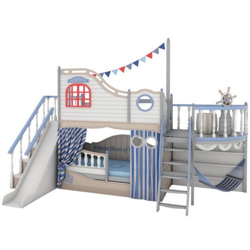 """Арт-кровать """"Fantasy bay"""" с игровым мостиком и горкой"""
